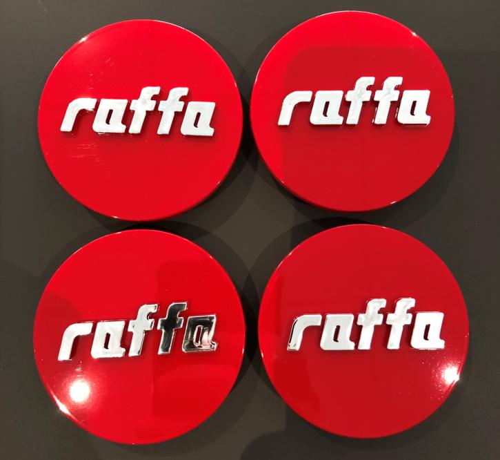 4 Stück Raffa Wheels Nabenkappen rot